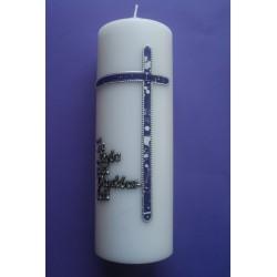 Trauerkerze lila Kreuz