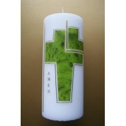 Trauerkerze grünes Kreuz