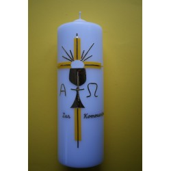 Tischkerze gelbes Kreuz